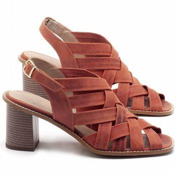 Sandália Salto Médio de 6cm em couro Laranja - Código - 3544