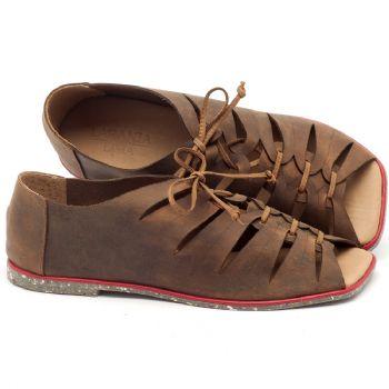 Rasteira Flat em couro marrom - Código - 145019