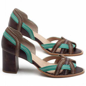Sandália Salto Médio de 6cm em couro Marrom com Verde Hortelã - Código - 3545