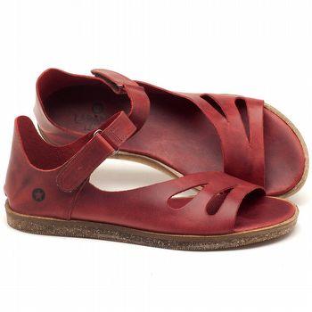 Rasteira Flat em couro vermelho - Código - 141054