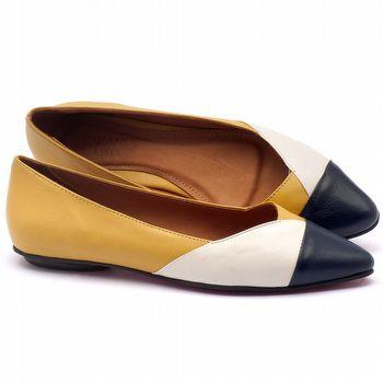 Sapatilha Bico Fechado em couro amarelo, marinho e branco - Código - 56120