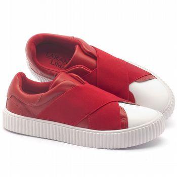 Tênis Cano Baixo em couro vermelho com branco - Código - 99066