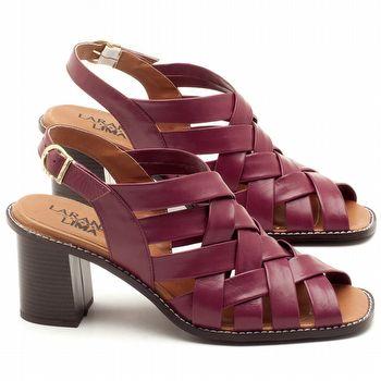 Sandália Salto Médio de 6cm em couro Vermelho Amora - Código - 3544