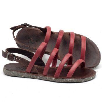 Rasteira Flat em couro vermelho - CÓDIGO - 137199