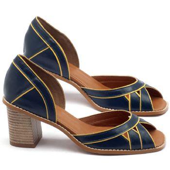Sandália Salto Médio de 6cm em couro marinho com amarelo - Código - 3489