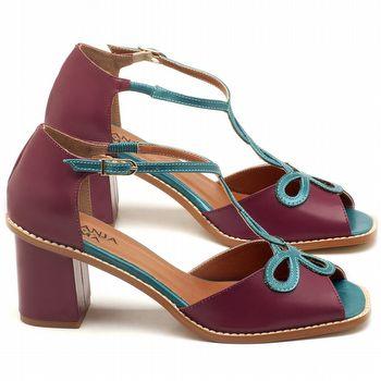 Sandália Salto médio de 7cm em couro vinho e azul turquesa - Código - 3574