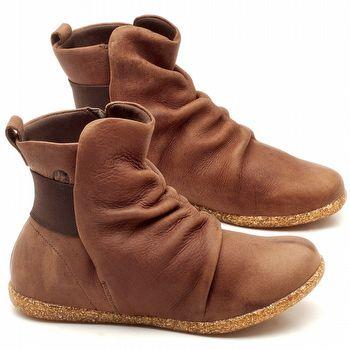Flat Boot em couro Marrom Telha - Código - 137171