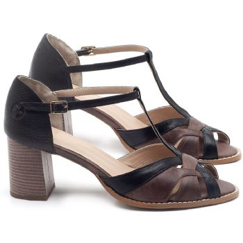 Sandália Salto Médio de 6cm em couro Preto com Marrom Telha - Código - 3628