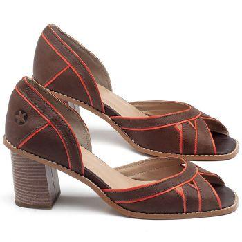 Sandália Salto Médio de 6cm em couro Marrom Telha com Laranja - Código - 3489