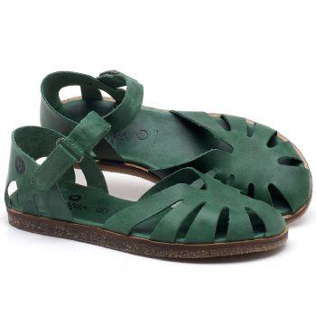 Rasteira Flat em couro Verde Bandeira - Código - 141017
