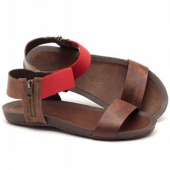 Rasteira Flat em couro marrom com vermelho - Código - 56141
