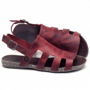 Rasteira Flat em couro Vermelho - Código - 137201