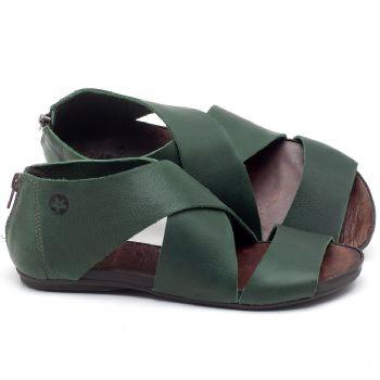 Rasteira Flat em couro verde - CÓDIGO - 137213