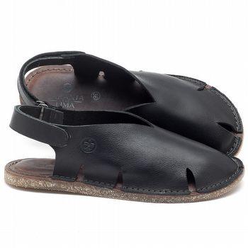Rasteira Flat em couro preto - CÓDIGO - 141093