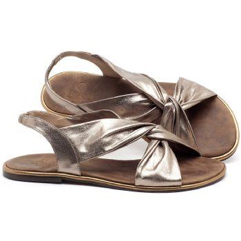 Rasteira Flat em couro Metalizado - Código - 3654