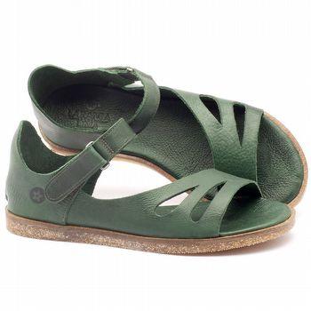 Rasteira Flat em couro verde militar - Código - 141054