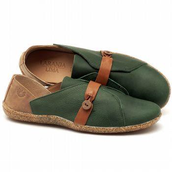 Tênis Cano Baixo em couro verde - Código - 145023
