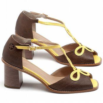 Sandália Salto Médio de 6cm em Couro Marrom Café com Amarelo - Código - 3598