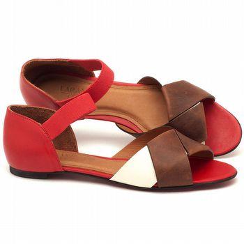 Rasteira Flat em couro vermelho, off, e marinho - Código - 56122