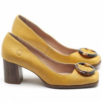 Scarpin Salto Médio de 6cm em couro Amarelo - Código - 3675