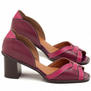 Sandália Salto Médio de 6cm em couro vinho e rosa - Código - 3583
