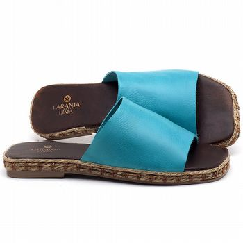 Rasteira Flat em couro Azul Piscina - Código - 9449