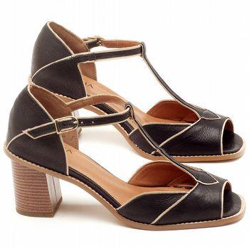 Sandália Salto de 7cm em couro Preto - Código - 3603