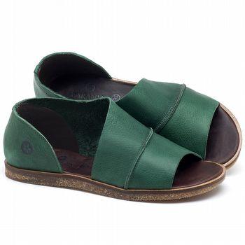 Rasteira Flat em couro Verde Folha - Código - 141055