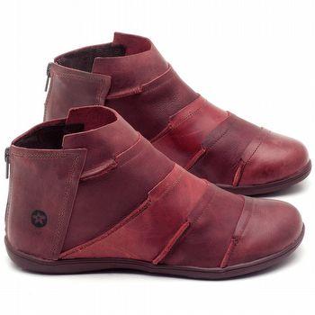 Flat Boot em couro Vinho com Vermelho - Código - 137145