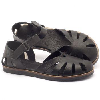 Rasteira Flat em couro preto - Código - 141017