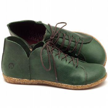 Tênis Cano Baixo em couro verde militar - Código - 137148