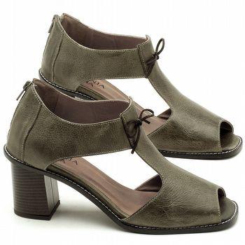 Sandália Salto Médio de 6cm em couro Musgo - Código - 3581
