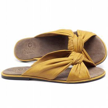 Rasteira Flat em couro Amarelo - Código - 3669