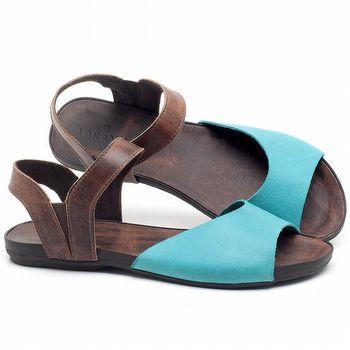 Rasteira Flat em couro Azul Piscina - Código - 137184