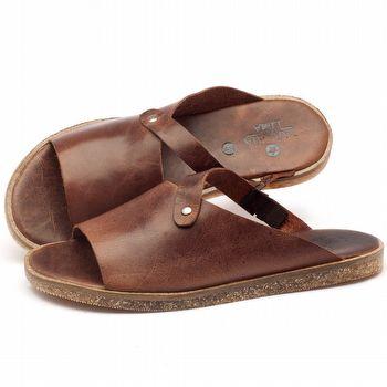 Rasteira Flat em couro marrom - Código 141056
