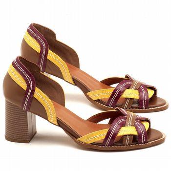 Sandália Salto Médio de 6cm em couro amarelo, vinho e conhaque - Código - 3545