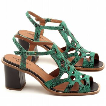 Sandália Salto médio de 6cm em couro animal print cobra verde com preto - Código - 3508