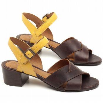 Sandália Salto Médio de 4cm em couro Café com Amarelo - Código - 56171