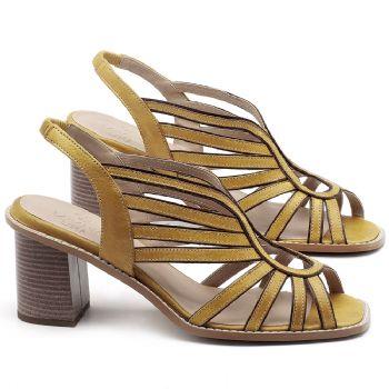 Sandália Salto Médio de 6cm em couro Amarelo Citrus - Código - 3647