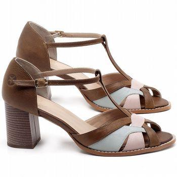Sandália Salto Médio de 6cm em couro Marrom Conhaque - Código - 3628