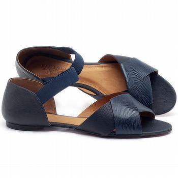 Rasteira Flat em couro Azul Marinho - Código - 56122
