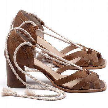 Sandália Salto Médio de 6cm em couro Conhaque - Código - 3661