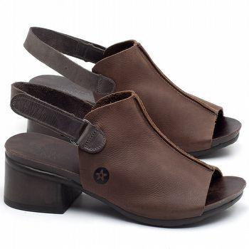 Sandália Boho com salto médio de 5cm em couro marrom - Código - 137207