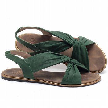 Rasteira Flat em couro Verde Bandeira - Código - 3654