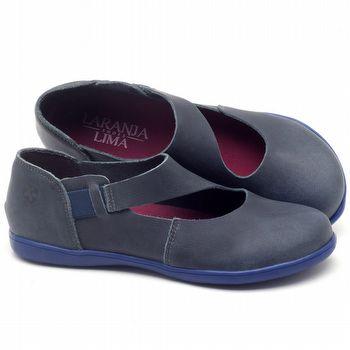 Flat Shoes em couro Azul Marinho - Código - 137167