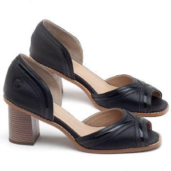 Sandália Salto medio de 6m em couro preto - CÓDIGO - 3645