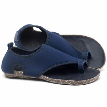 Rasteira Flat em couro Azul Bic - Código - 137179
