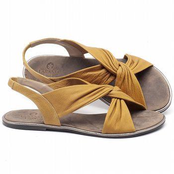 Rasteira Flat em couro Amarelo - Código - 3654