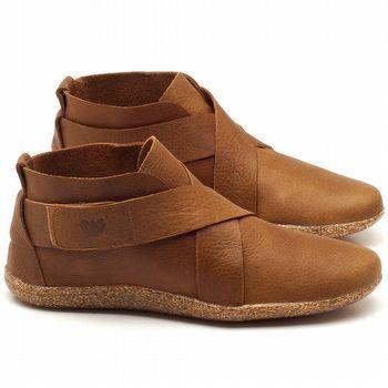 Flat Boot em couro caramelo - Código - 145032