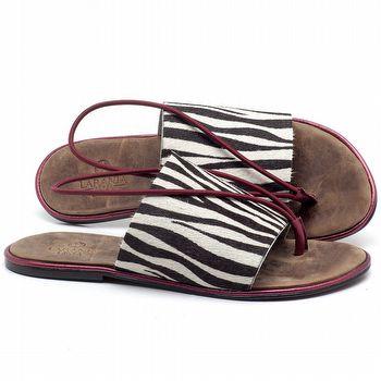 Rasteira Flat em couro Animal Print Zebra - Código - 3657